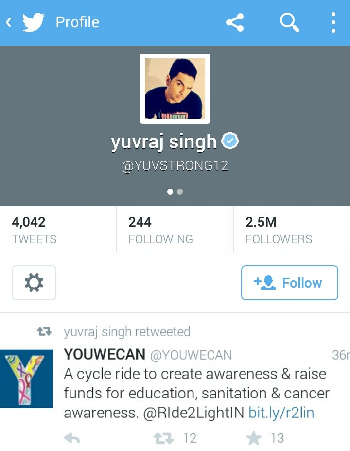 Yuvraj Singh showing his support to the cause.